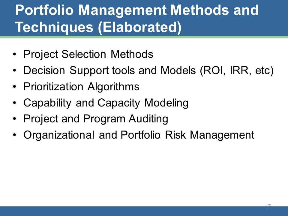 Portfolio Management Methods and techniques
